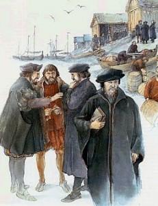 Tenkt framstilling av riksmøtet på Bud i 1533, illustrasjon frå Aschehougs Norgeshistorie.
