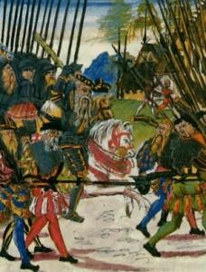Skarprettar og fut i aksjon. Teikning frå ei handbok i krigføring. Manuskript frå 1500-talet