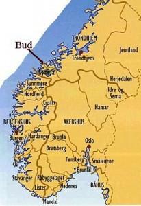 Len i Norge på 1500-talet. Landet var inndelt i fire hovudlen: Båhus, Akershus, Bergenhus (inkl. Nord-Noreg) og Trondhjem. M.a. Nordfjord, Sunnmøre og Romsdal var underliggjande len.